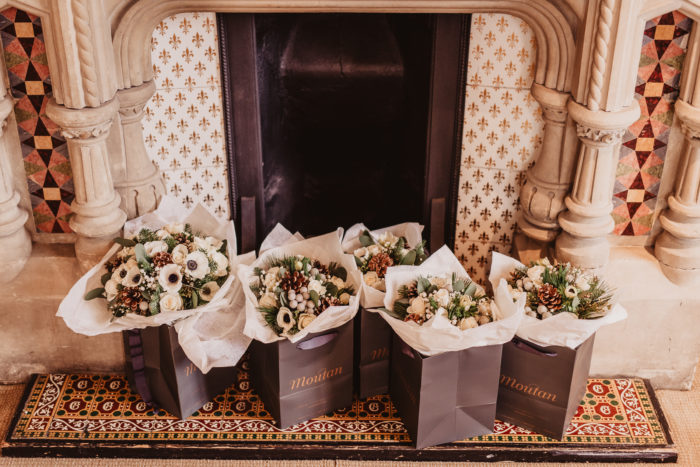 "<img alt=""Moutan bridal party bouquets photographed by Alistair Jones from Ideal Imaging"">"