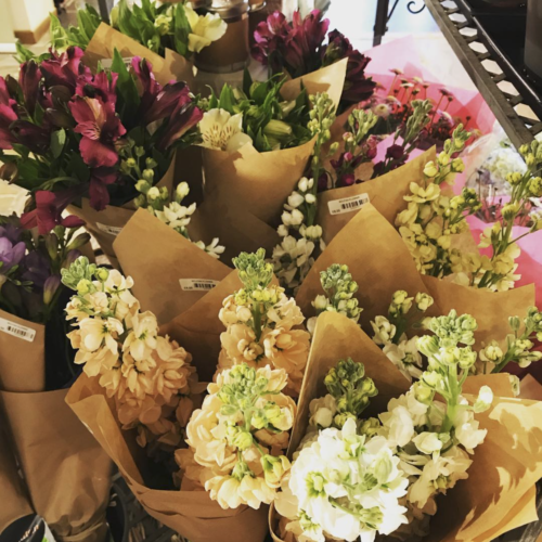 "<img alt=""British grown alstomeria and stocks at the Moutan Flowers concession stand at Newlyns Farm Shop Hampshire"">"