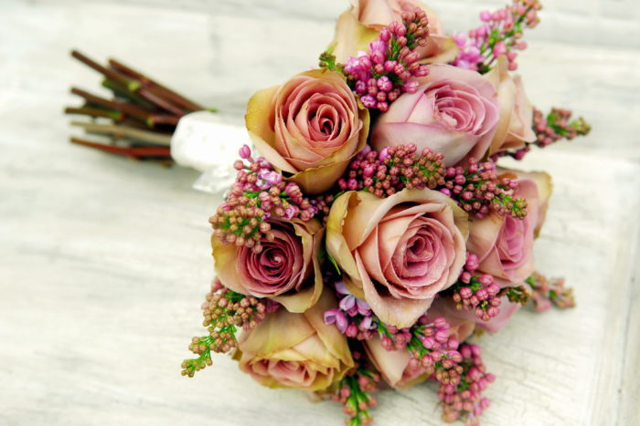 "<img alt=""Moutan bridal bouquet with roses and purple lilac"">"