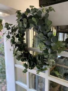 Eucalyptus wreath on door of Moutan Florist Farnham
